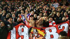 Aficionados del Atlético en Anfield. (Getty)
