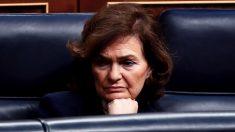 Carmen Calvo el 18 de marzo en el Congreso. (Foto: PSOE)
