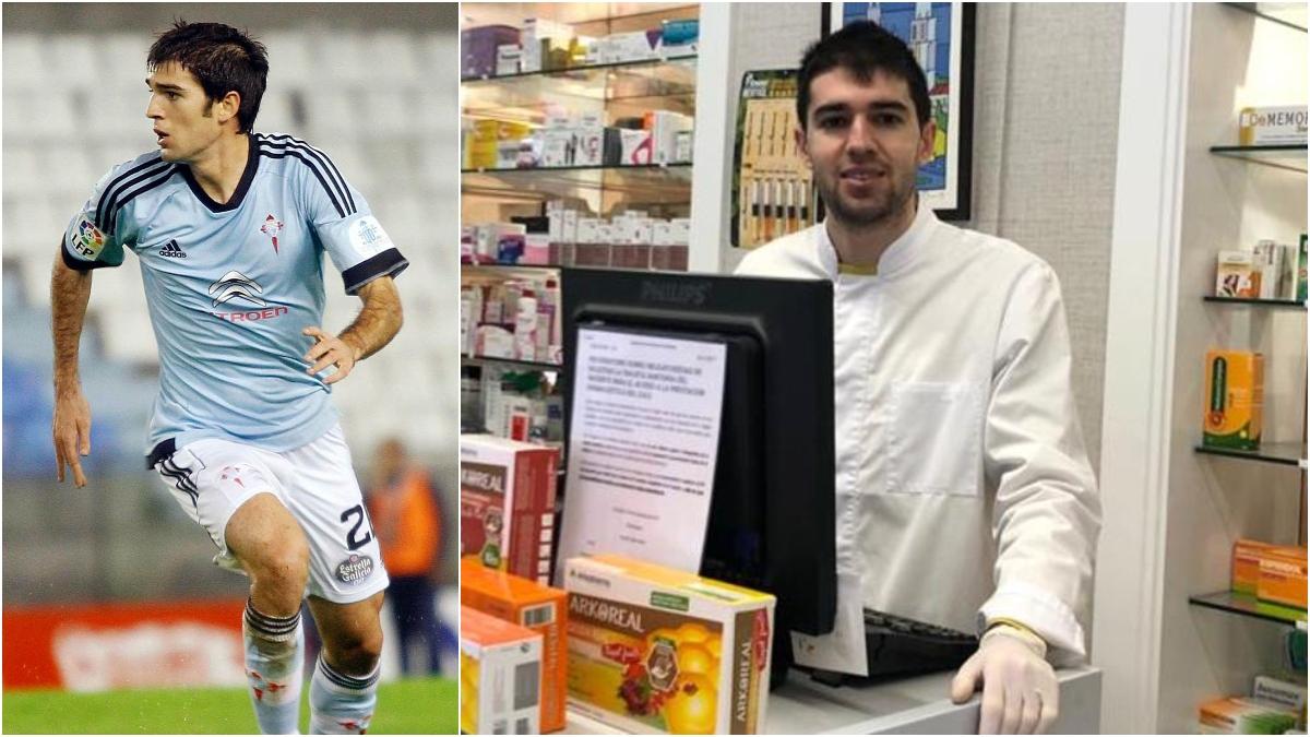 Toni Dovale, como futbolista y en la farmacia.