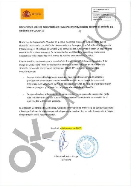 El Gobierno pidió suspender un congreso evangélico en Madrid por el coronavirus 2 días antes del 8-M