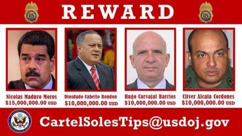 EEUU ofrece una recompensa de 15 millones por Nicolás Maduro y de 10 millones por el resto de dirigentes chavistas.