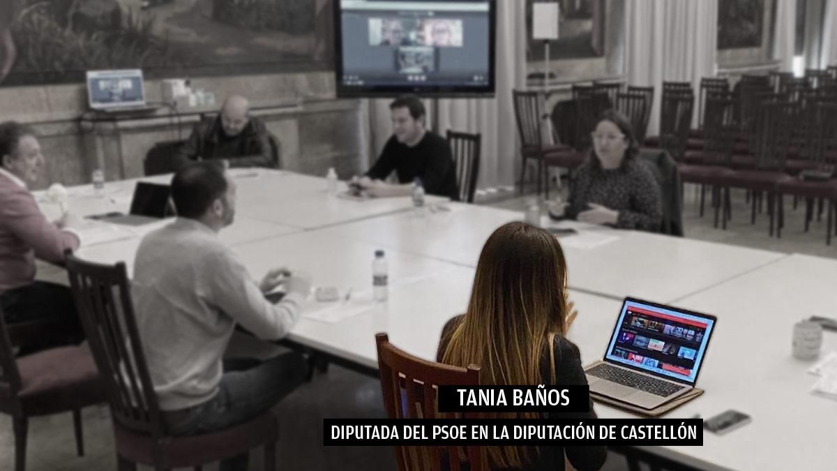 Tania Baños, diputada del PSOE en la Diputación de Castellón, pillada viendo el catálogo de HBO durante una reunión por el coronavirus.