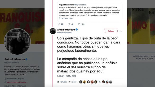 Tuit de Antonio Maestre sobre la polémica sobre Miguel Lacambra.