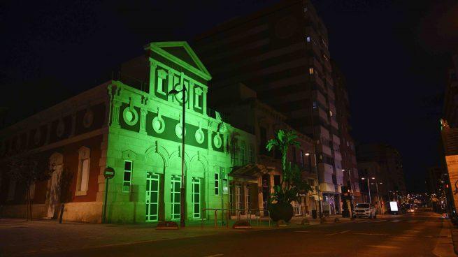 Almería decreta el luto 'sine die' por las víctimas del coronavirus y tiñe la ciudad de verde por los sanitarios