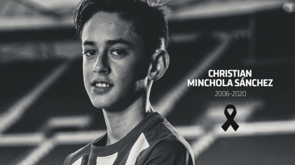 Christian Minchola, delantero del infantil C del Atlético. (atleticodemadrid.com)
