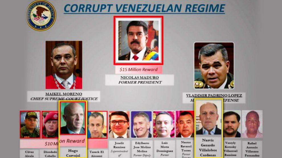 """El Departamento de Justicia de EEUU ha incluido en la lista de los chavistas """"más buscados"""" al general Hugo Carvajal y el viceministro de Energía Nervis Villalobos."""
