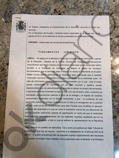 Un informe policial con los planes de fuga del jefe de espionaje de Rafael Correa ayudado por Podemos y la embajada venezolana.