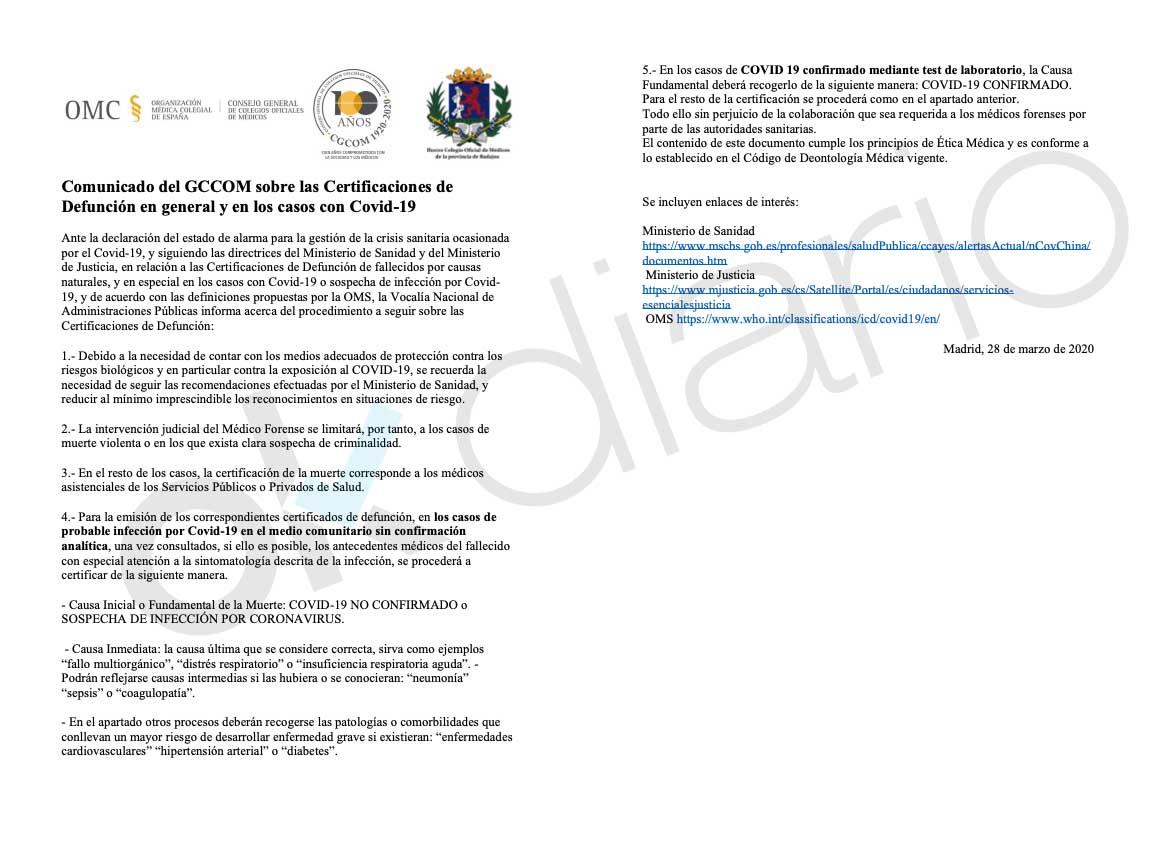 """El Gobierno anula las autopsias y ordena anotar las muertes por coronavirus sin test como """"no confirmadas"""""""