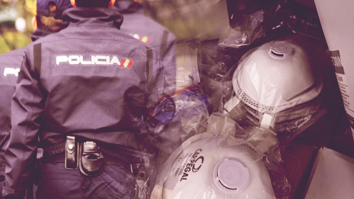 La policía requisa mascarillas en establecimientos regentados por chinos.