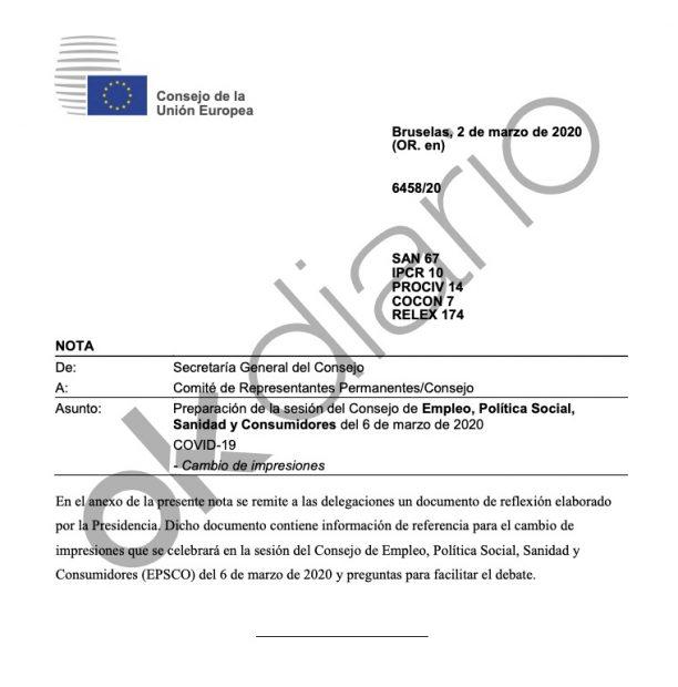 Un informe de la UE revela que alertó en 10 ocasiones a España del peligro del coronavirus antes del 8-M
