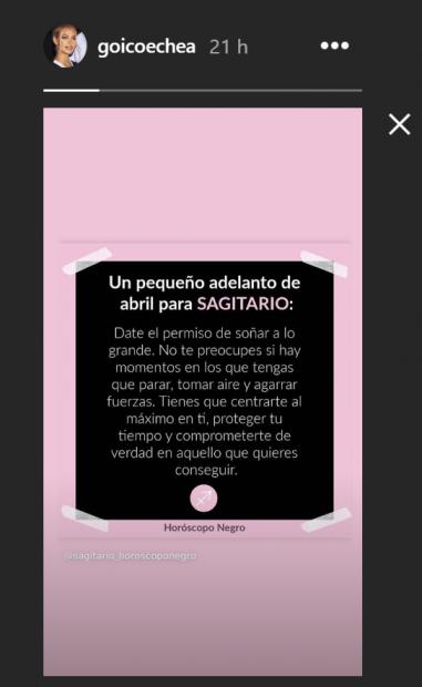 Jessica Goicoechea compartió una predicción del horóscopo horas antes del incidente