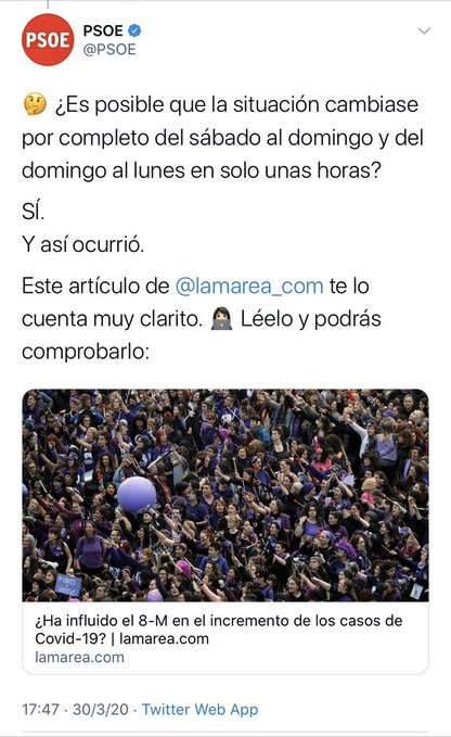 Tuit del PSOE con el artículo de Miguel Lacambra.