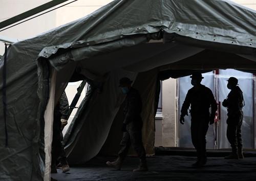 Hospital de campaña en las inmediaciones del Hospital Gregorio Marañón