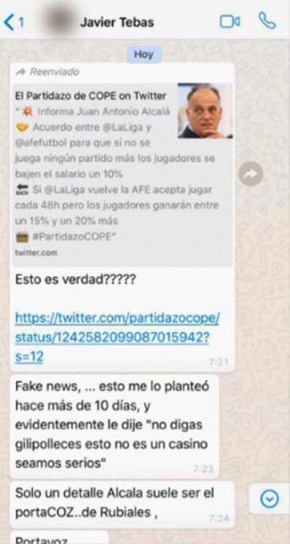 El WhatsApp de Tebas al presidente de un club que deja a Aganzo como un 'traidor'