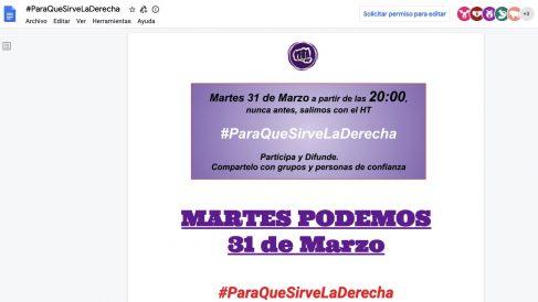 Documento de trabajo de la campaña de Podemos contra la oposición.