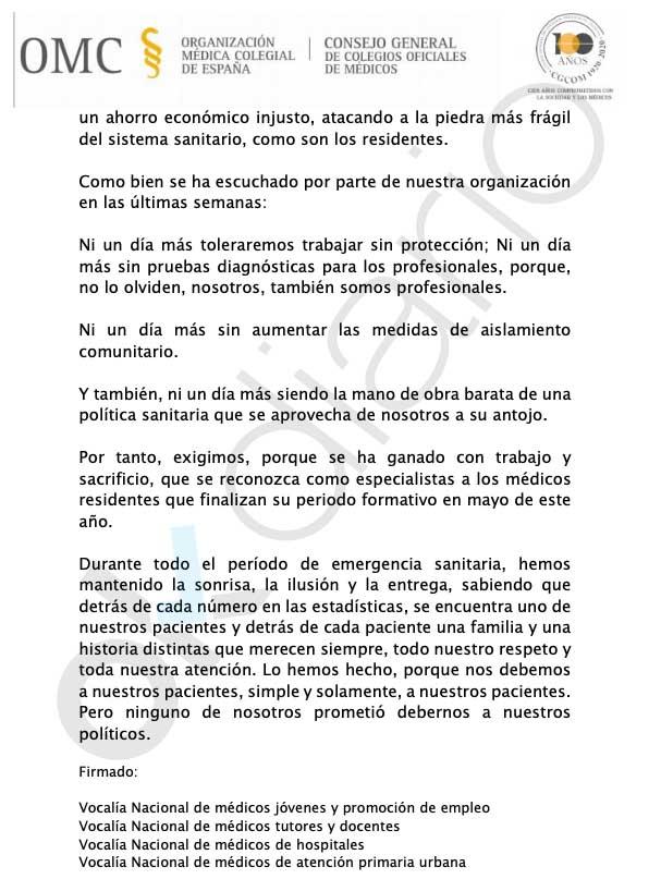 Sánchez aprovecha el coronavirus para recortar un 50% el sueldo a los médicos que han terminado el MIR