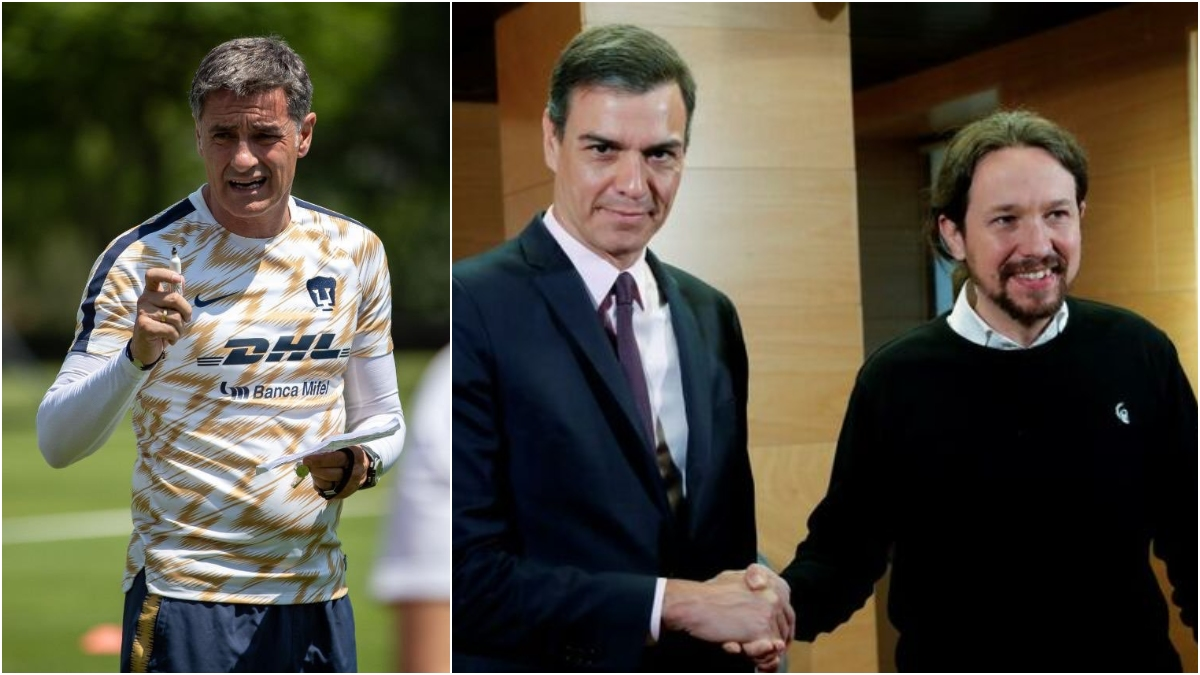 Míchel González, Pedro Sánchez y Pablo Iglesias.