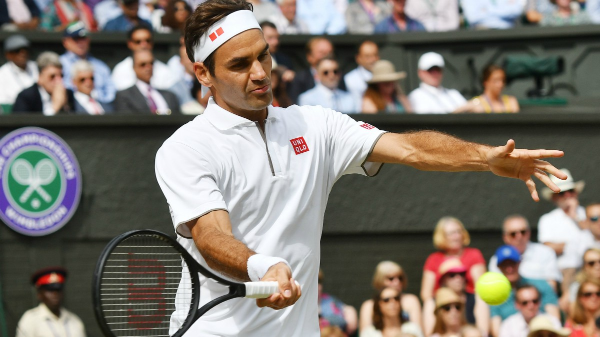 Roger Federer durante la final de Wimbledon 2019. (Getty)