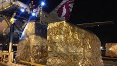 Avión con material sanitario comprado por la Comunidad de Madrid. (Foto: Comunidad)