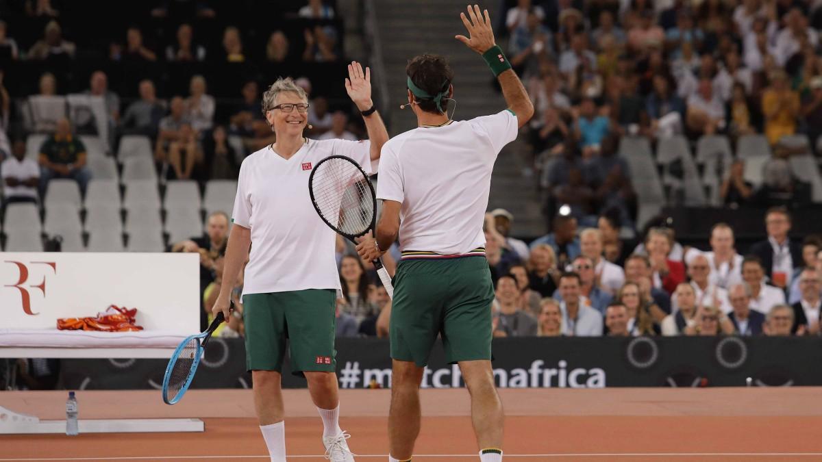 Bill Gates y Rafa Nadal en Sudáfrica. (Getty)