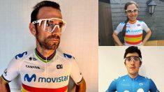 Alejandro Valverde, Lourdes Oyarbide y Marc Soler posan con las gafas donadas.