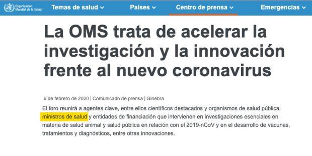 """Convocatoria de la OMS a los """"ministros de Salud"""" al Foro del coronavirus."""