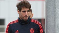 Javi Martínez, antes de un entrenamiento del Bayern (Getty).