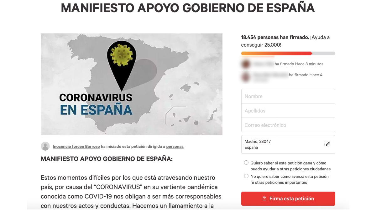 Iniciativa en 'Change.org' para apoyar al Gobierno frente a la crisis del coronavirus.
