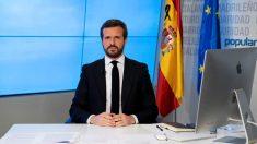 Pablo Casado durante una rueda de prensa telemática en la sede del Partido Popular. Foto: EFE