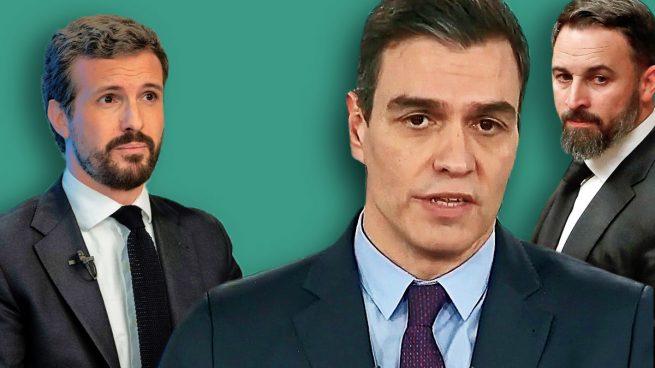 Sánchez sigue sin ponerse la corbata negra en señal de luto como sí hacen Casado y Abascal