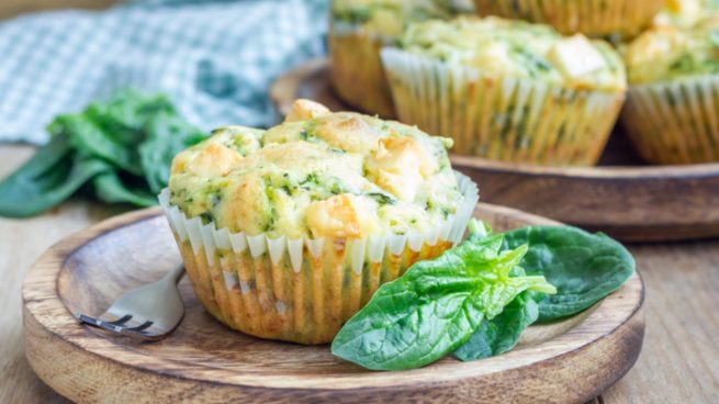 Receta de muffins de espinacas con queso