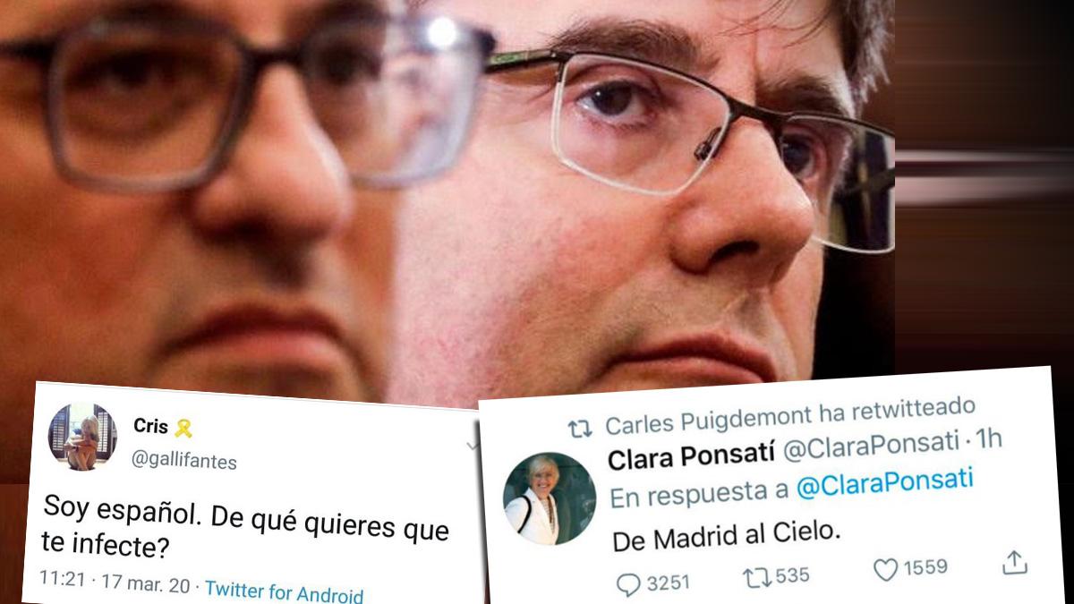 Quim Torra y Carles Puigdemont, ante varios mensajes publicados por los independentistas en Twitter.