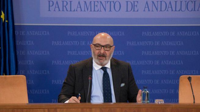 El portavoz parlamentario de Vox, Alejandro Hernández, en rueda de prensa.