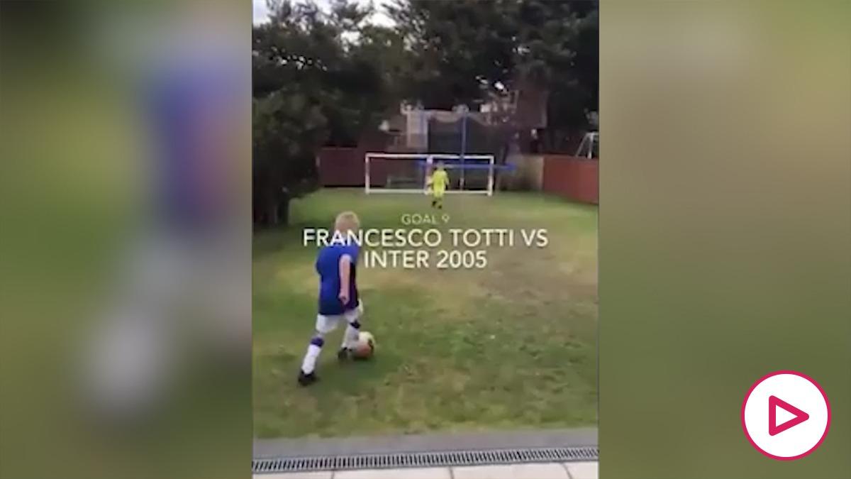 Un niño revoluciona las redes con la imitación de goles históricos.
