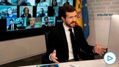 El presidente del Partido Popular Pablo Casado, durante la videoconferencia con la Comisión de seguimiento del COVID-19 del PP, hoy viernes en Madrid.- EFE/David Mudarra/Partido Popular