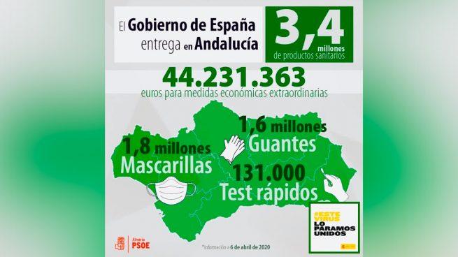 Imagen utilizada por el PSOE para apropiarse del material sanitario.