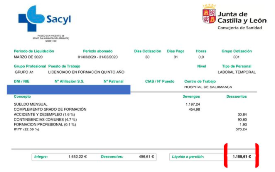La nómina del cardiólogo que estalló contra el diputado socialista Elorza por sus 1900€ de dietas