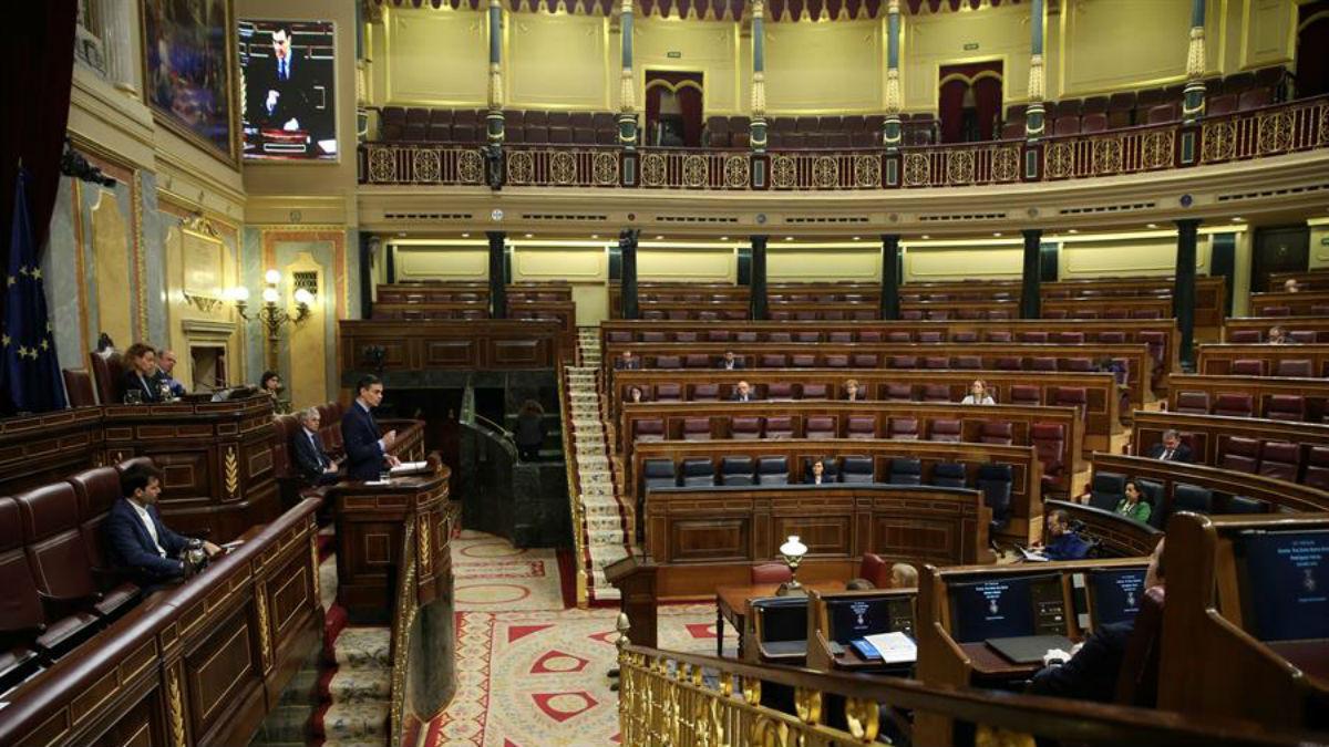 Hemiciclo del Congreso de los Diputados durante el estado de alarma por el coronavirus. (Foto: EP)