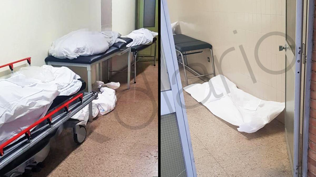 Cadáveres de fallecidos por coronavirus en el suelo del hospital Príncipe de Asturias de Madrid.