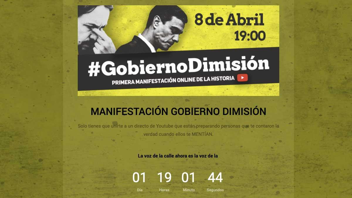 Manifestación online: GobiernoDimisión