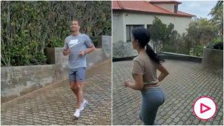 Cristiano Ronaldo y Georgina Rodríguez, haciendo deporte.