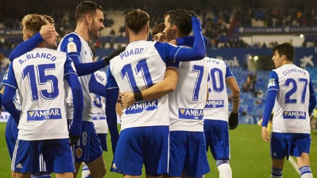 El Zaragoza, celebrando un gol este curso.