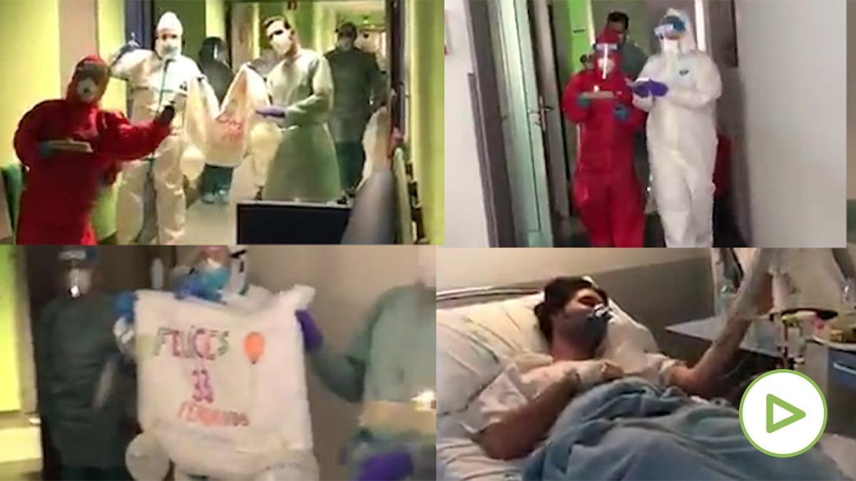 Sanitarios le hacen una fiesta sorpresa a un paciente por su cumpleaños en el Hospital de Aranjuez (Madrid).