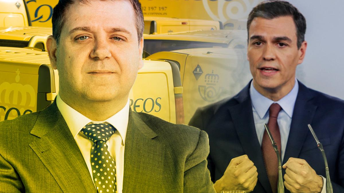 Juan Manuel Serrano, presidente de Correos, y Pedro Sánchez, jefe del Gobierno.