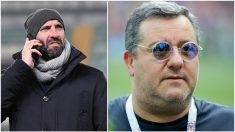 Monchi y Raiola, en fotos de archivo (Getty).