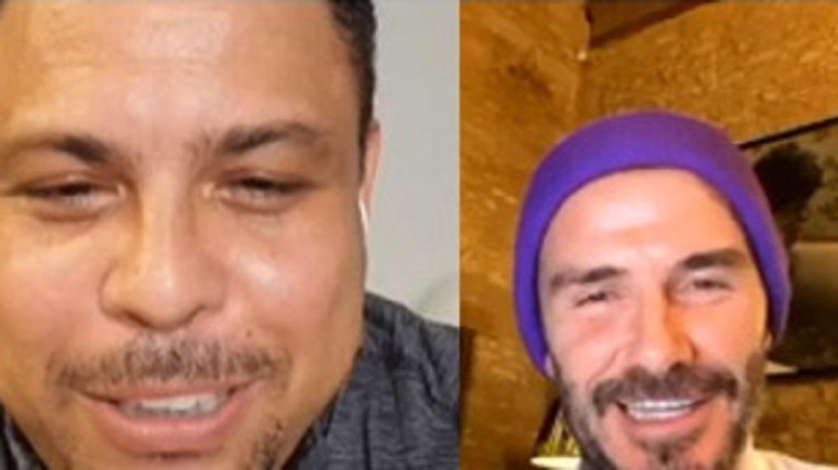 Ronaldo y Beckham, durante la videollamada.