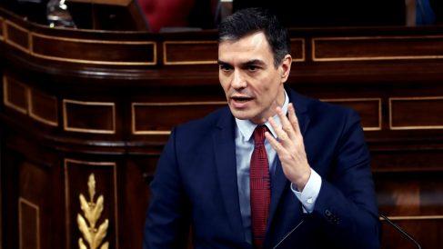 Pedro Sánchez, durante su intervención en el pleno del Congreso del Jueves Santo para aprobar la nueva prórroga del estado de alarma.