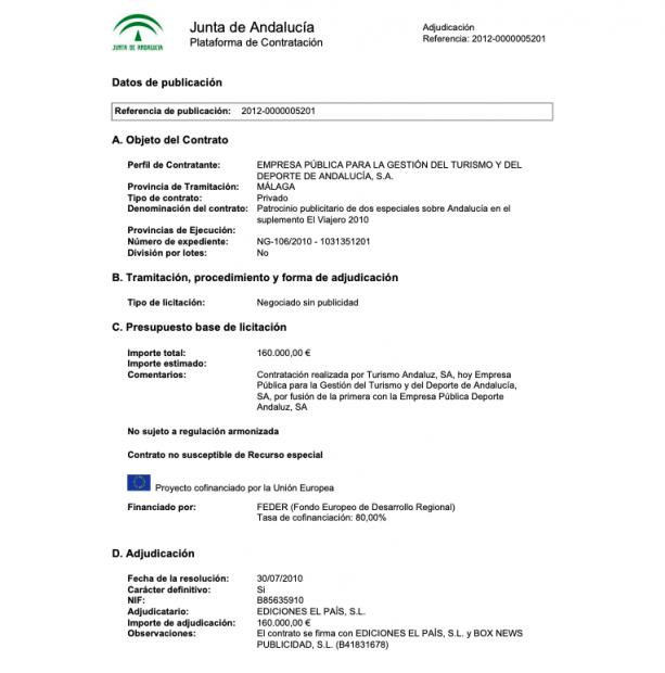 Contrato de la Junta de Andalucía con El País.