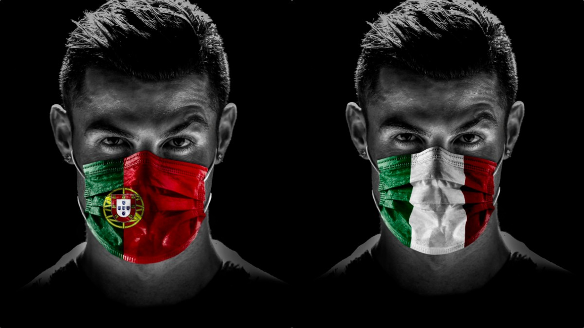 Cristiano Ronaldo, con mascarillas con la bandera de Portugal e Italia.