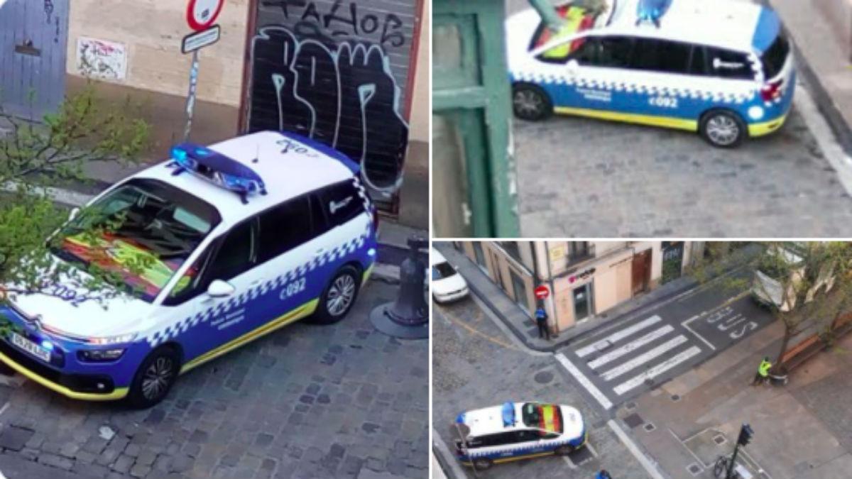 Coche de la Policía Municipal de Pamplona marcado por Bildu